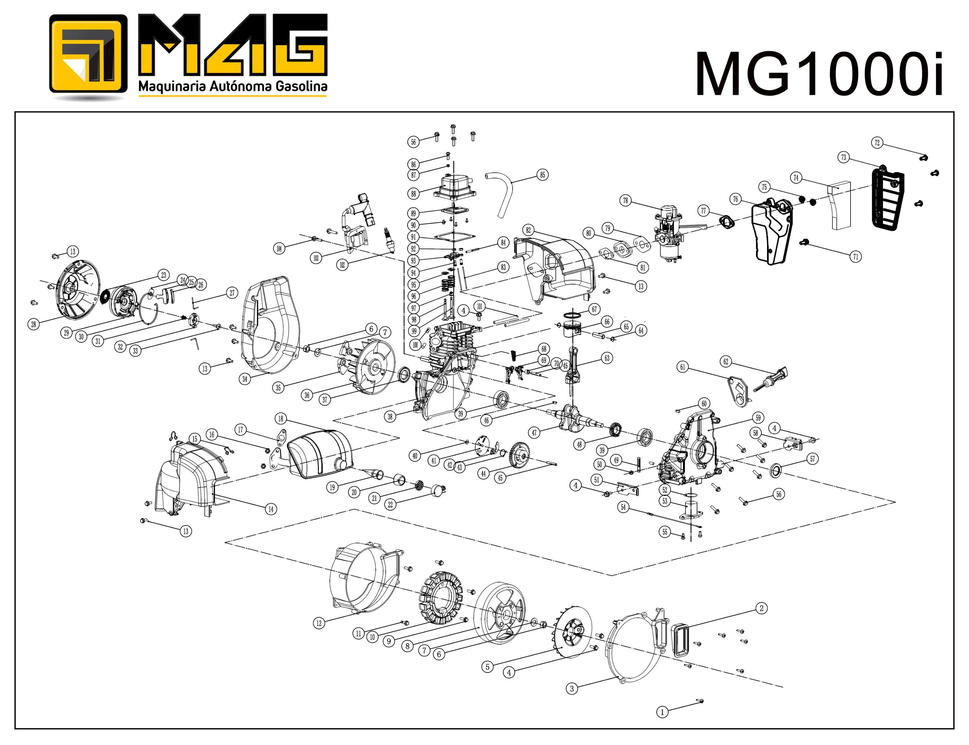 Vue Eclatee Moteur MG1000i